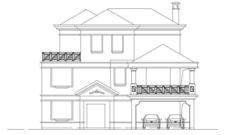 三层独栋别墅建筑施工图(欧陆风格)