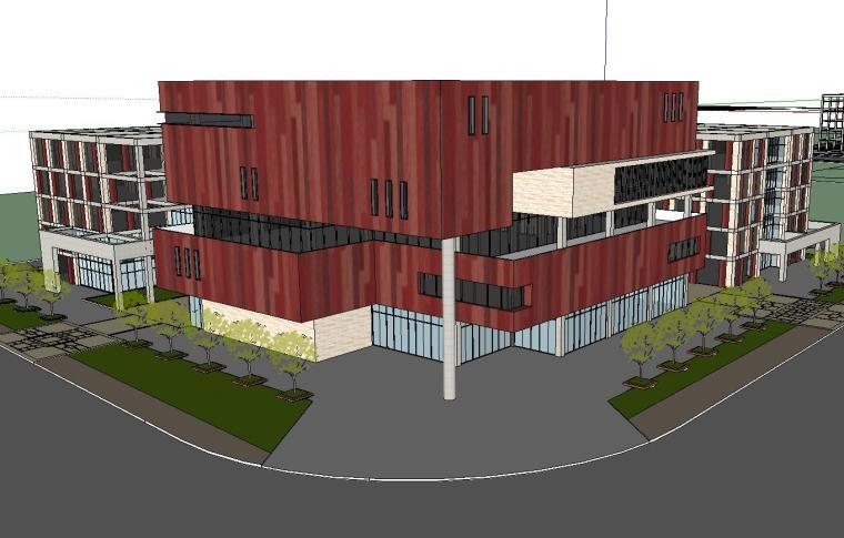 [四川]现代风格行政办公楼建筑模型方案四