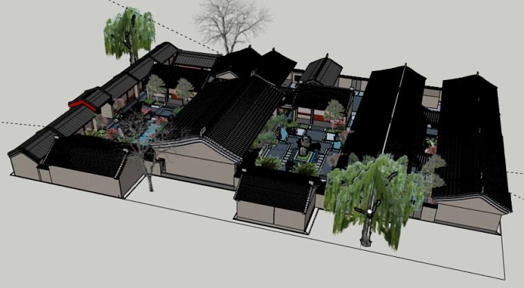四合院会所景观方案设计-5