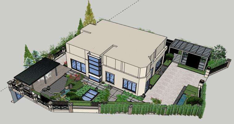 别墅景观方案设计模型-别墅庭院设计