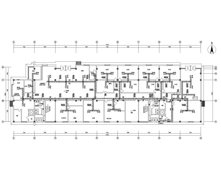三层办公楼风机盘管+新风空调系统设计图