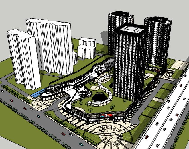 商业办公综合体建筑模型设计