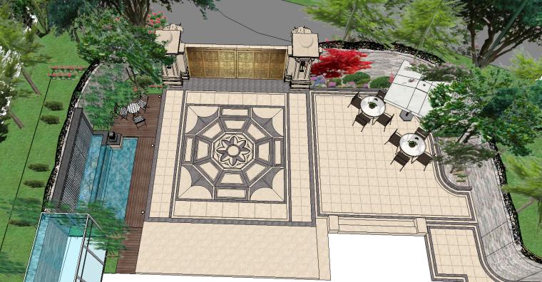 别墅庭院景观方案设计、庭院景观设计SU模型
