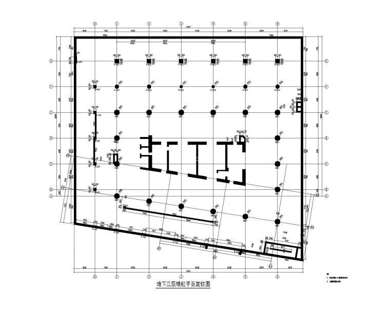 地下三层墙柱平面定位图