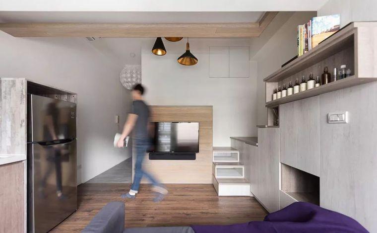 """23平loft单身公寓北欧风,楼梯""""兼职""""收纳"""