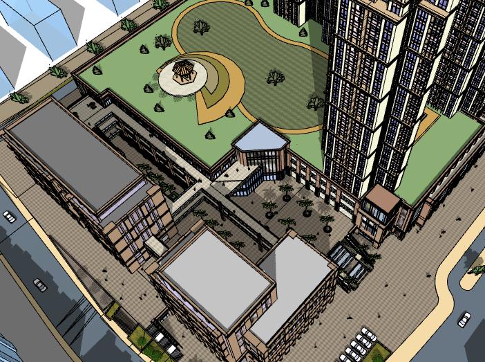大型综合商场建筑模型设计