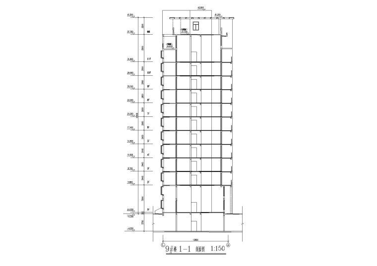 09小高层一梯两户四室两厅两卫居住建筑剖面图