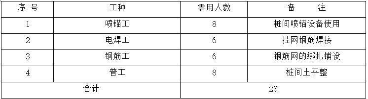 抗拔锚杆施工劳动力计划表
