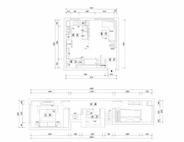 90㎡简约小复式装修,客厅隔断柜+隔断框