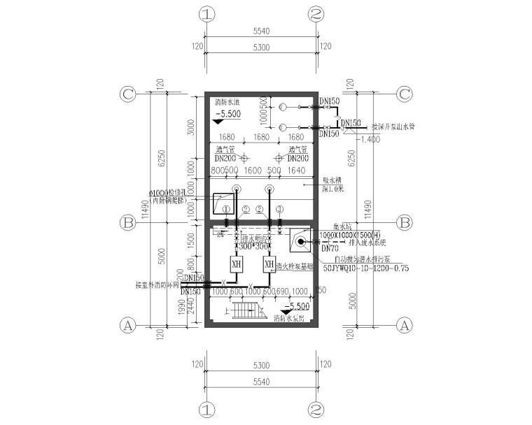 三所中学消防给排水泵房设计施工图