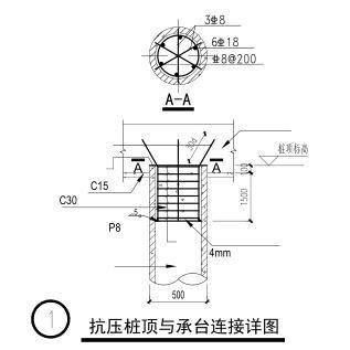 抗压桩顶与承台连接详图
