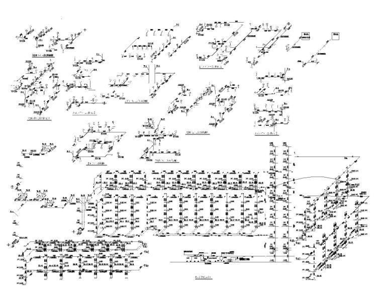 老年公寓热水干管系统原理图、卫生间大样图