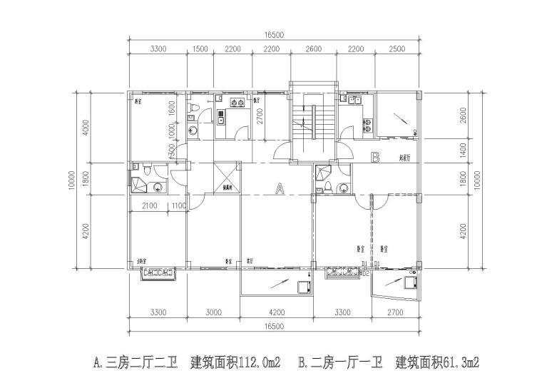 多层一梯两户三室/两室两厅组合户型平面图