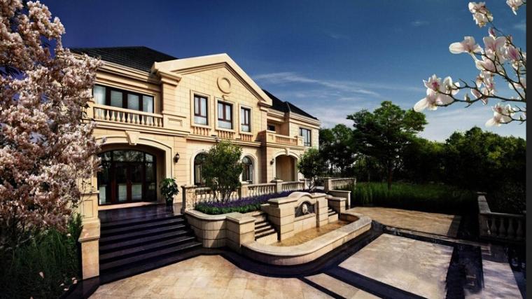 法式风格独栋做售楼处建筑设计
