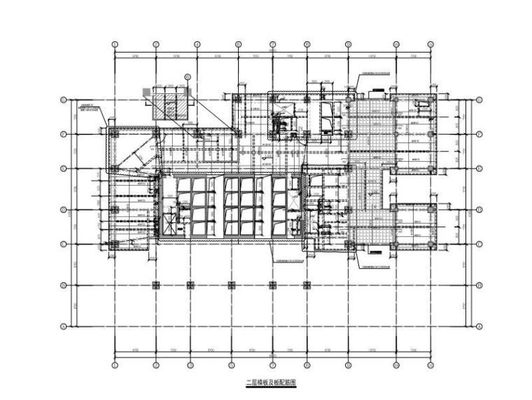 二层模板及板配筋图