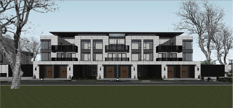 新亚风格联排别墅建筑模型设计