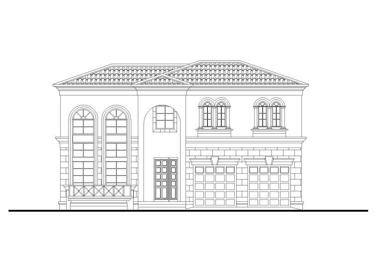 现代二层独栋别墅建筑施工图(CAD)