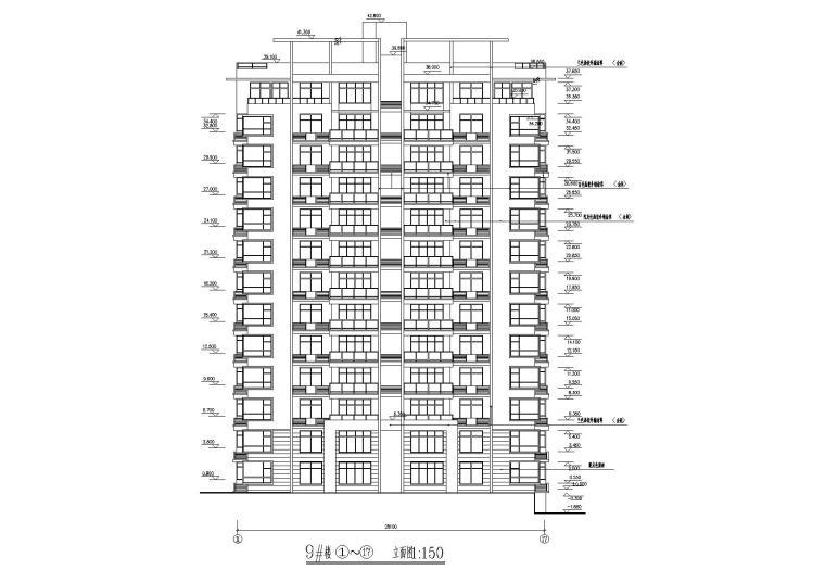 02小高层一梯两户四室两厅两卫居住建筑立面图