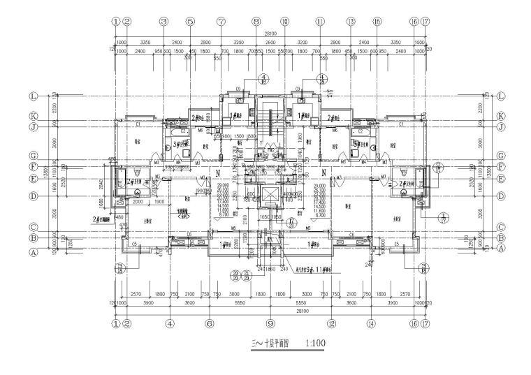 06小高层一梯两户四室两厅两卫居住建筑三至十层平面图