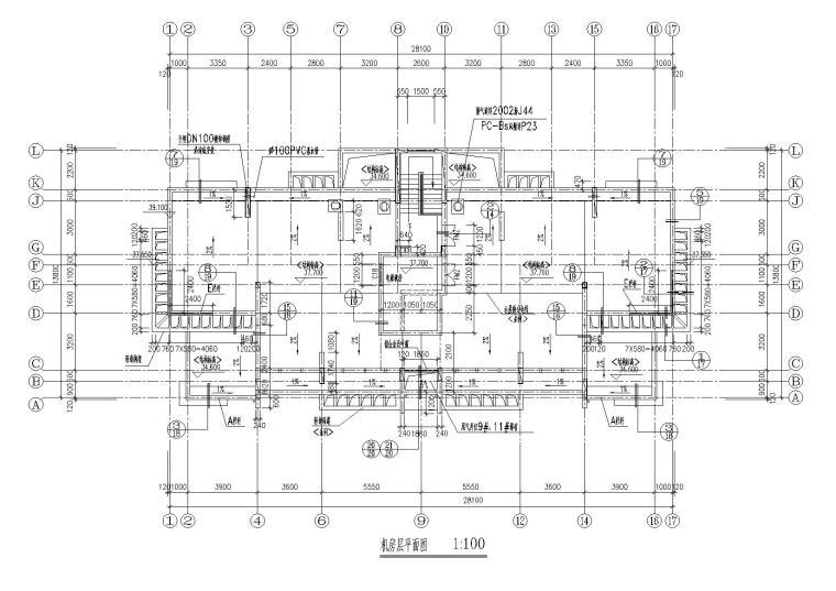 06小高层一梯两户四室两厅两卫居住建筑机房层平面图