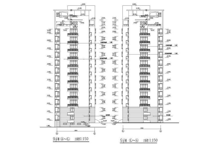 03小高层一梯两户四室两厅两卫居住建筑侧立面图