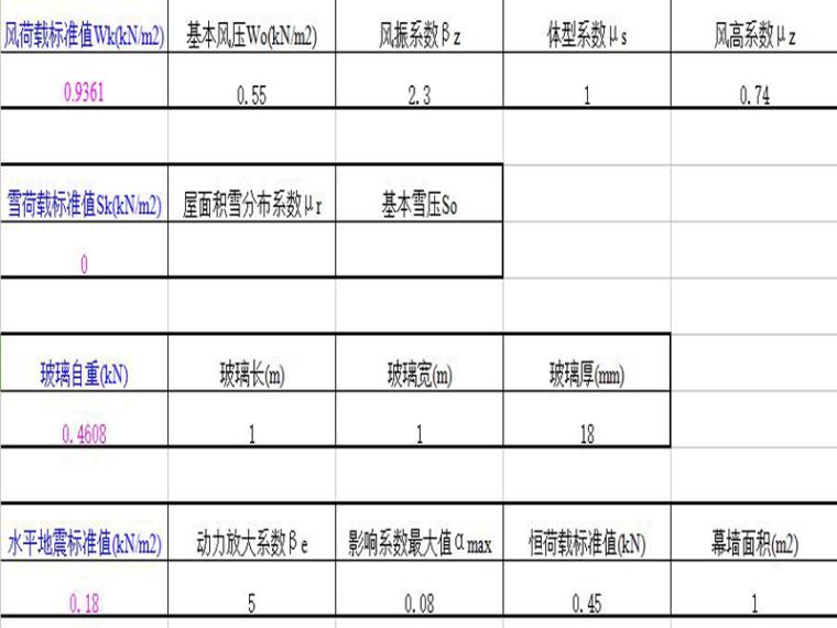 挠度计算模板表格(excel)