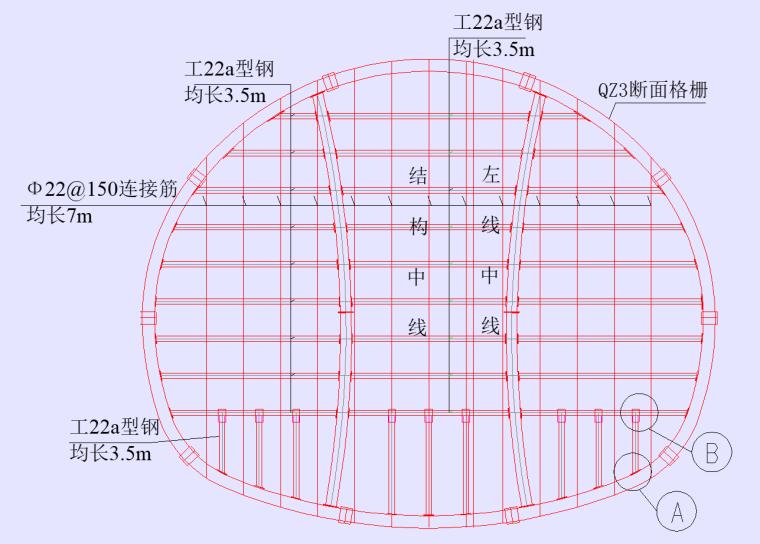 QZ3断面封端墙钢架图