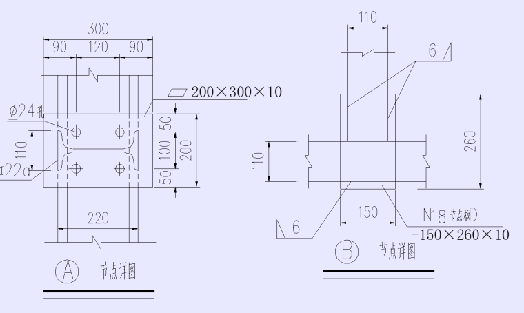 QZ3断面封端墙钢架连接节点图