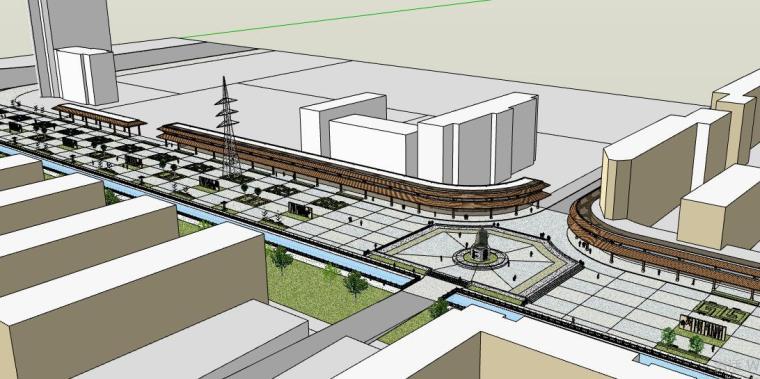 中式(新中式)仿古风格商业街建筑精细SU模型