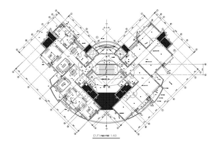 02L型底商高层复式住宅楼建筑设计E1F1户型平面图