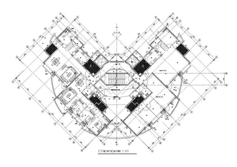 05L型底商高层复式住宅楼建筑设计E3复式下层户型平面图
