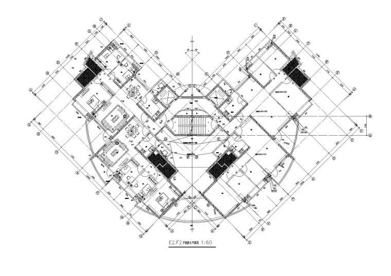 04L型底商高层复式住宅楼建筑设计E2F2户型平面图