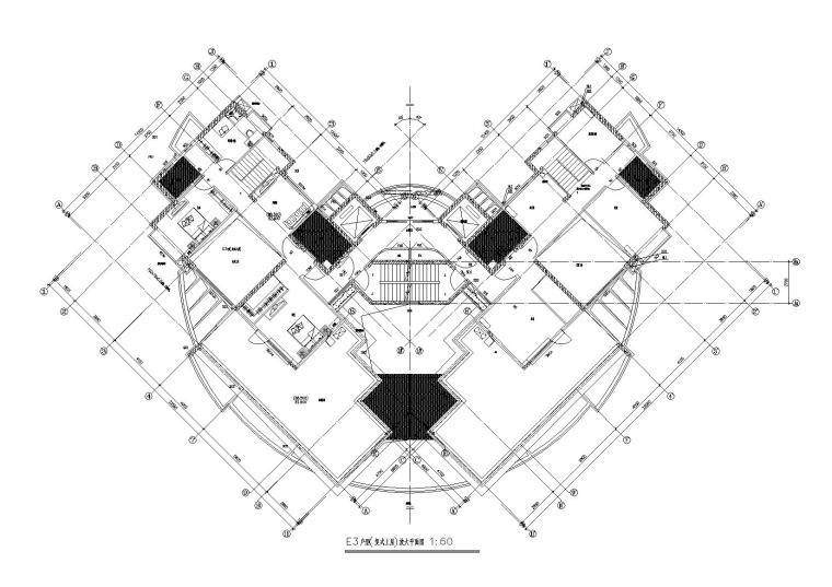 06L型底商高层复式住宅楼建筑设计E3复式上层户型平面图