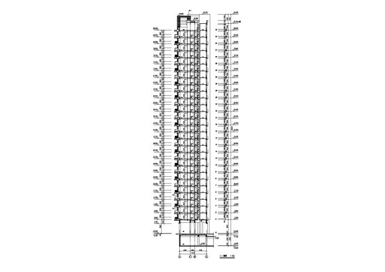 09L型底商高层复式住宅楼建筑设计剖面图