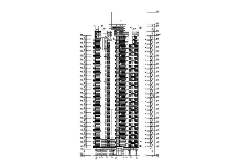 02L型底商高层复式住宅楼建筑设计立面图
