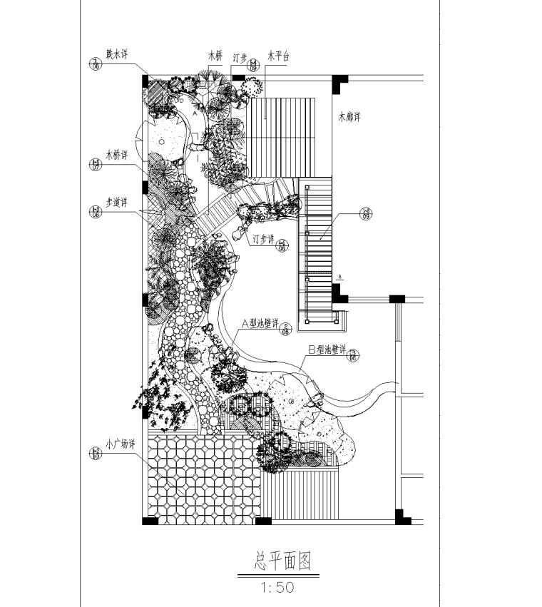 别墅庭院景观CAD施工图(长方形庭院)