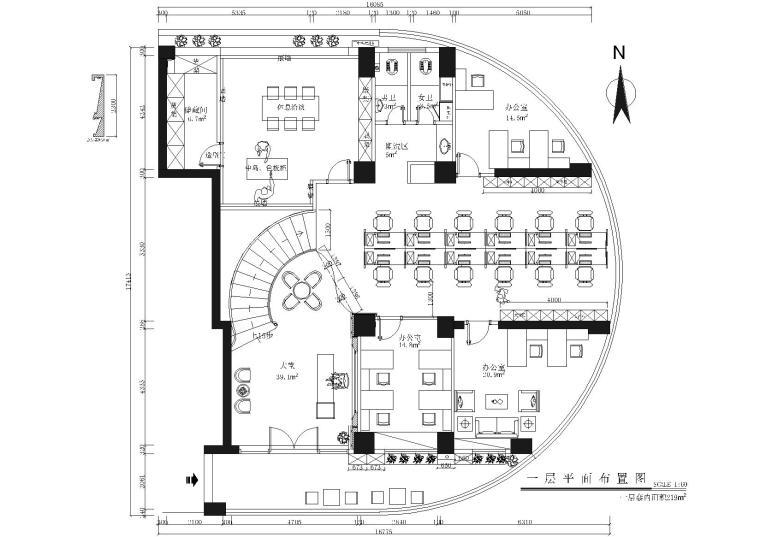 圣士达办公室装饰设计施工图+3D模型+效果图