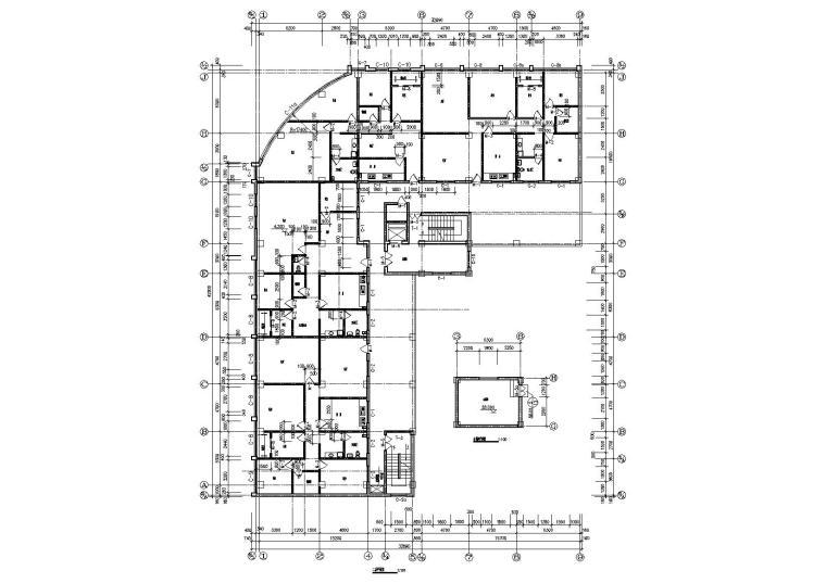 04L型多層住宅樓建筑二層平面圖