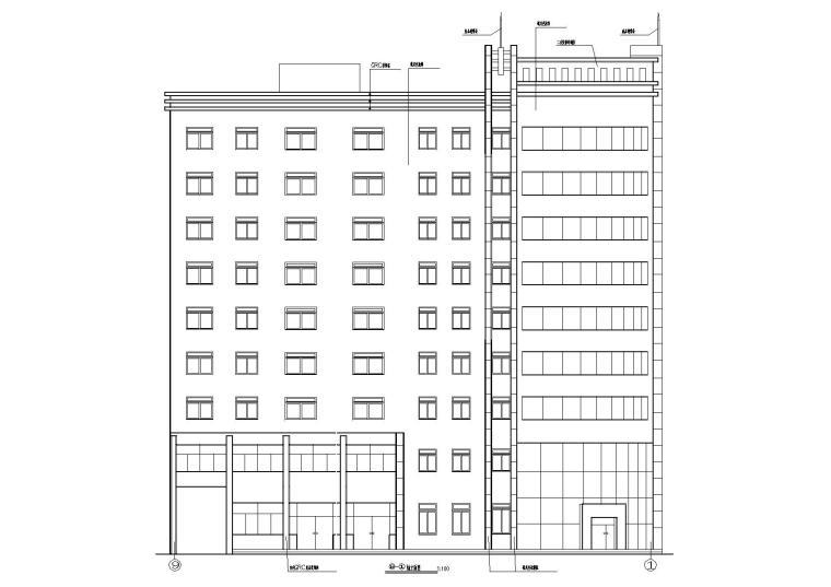 02L型多層住宅樓建筑西立面圖