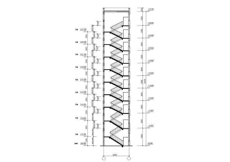 08L型多層住宅樓建筑樓梯剖面圖