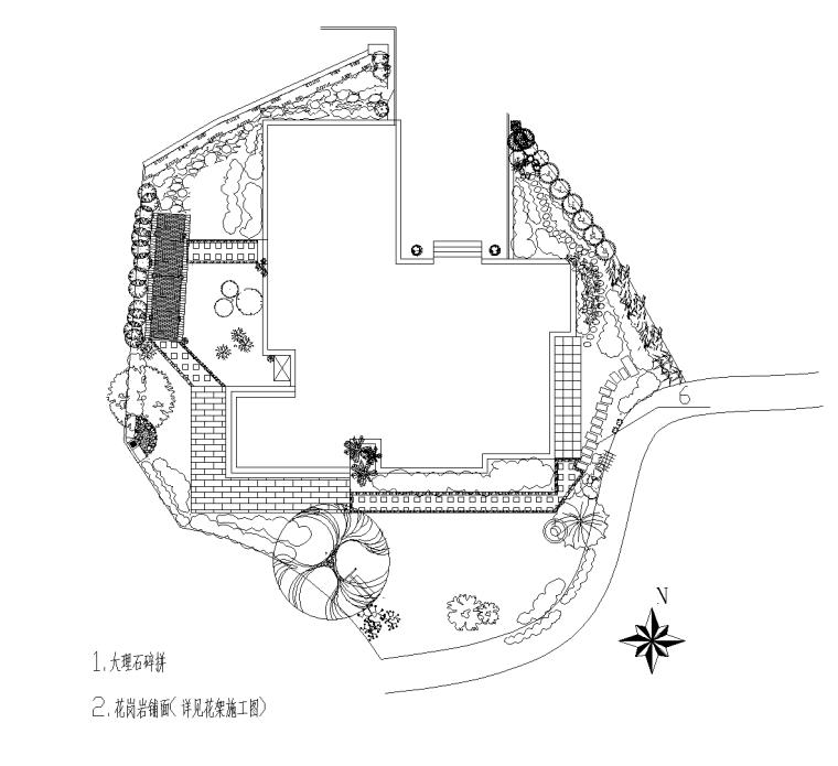 别墅庭院景观设计方案CAD施工图及细部大样