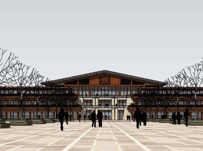 仿古酒店建筑模型设计