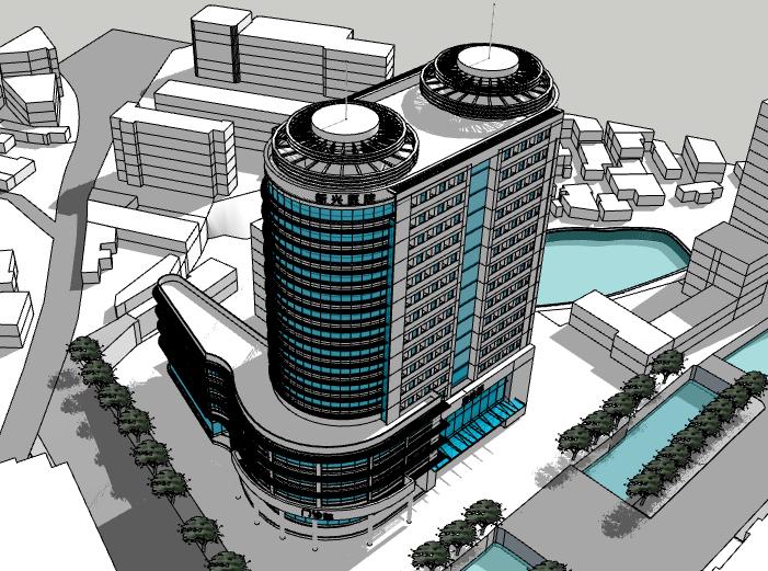 新兴医院建筑模型设计