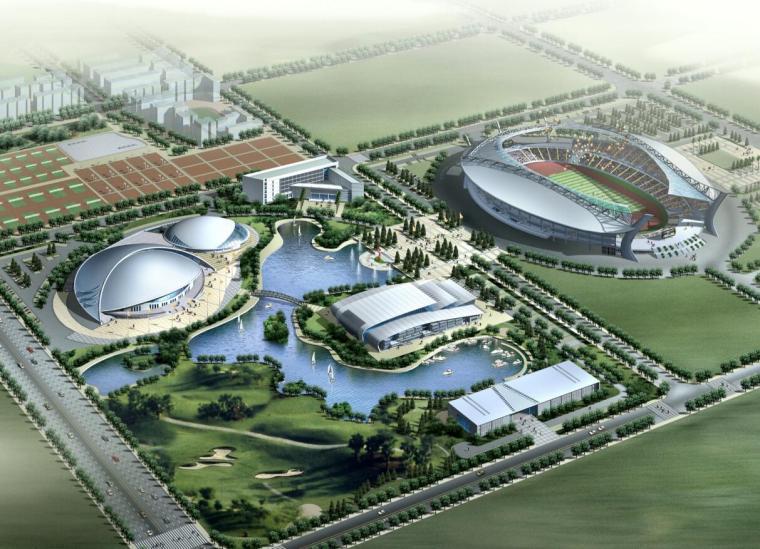 [湖北]武钢体育中心规划与建筑方案图