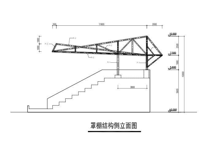 罩棚结构侧立面图