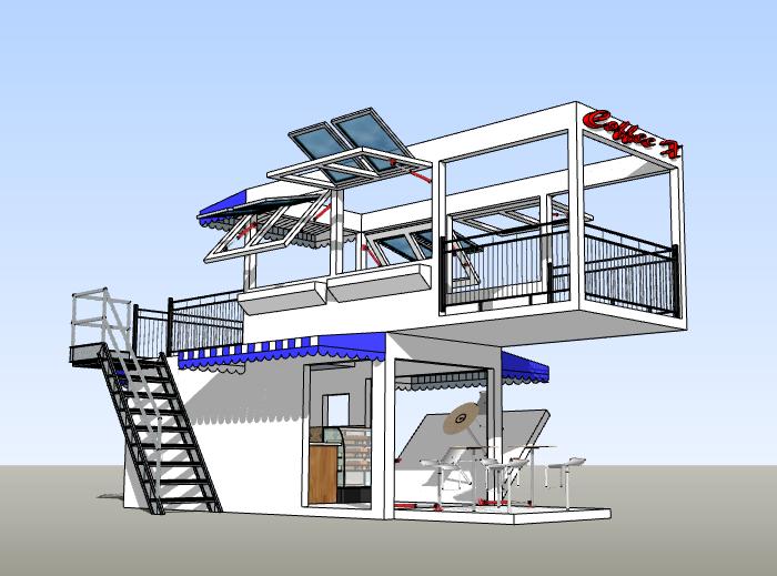 集装箱咖啡屋建筑模型设计