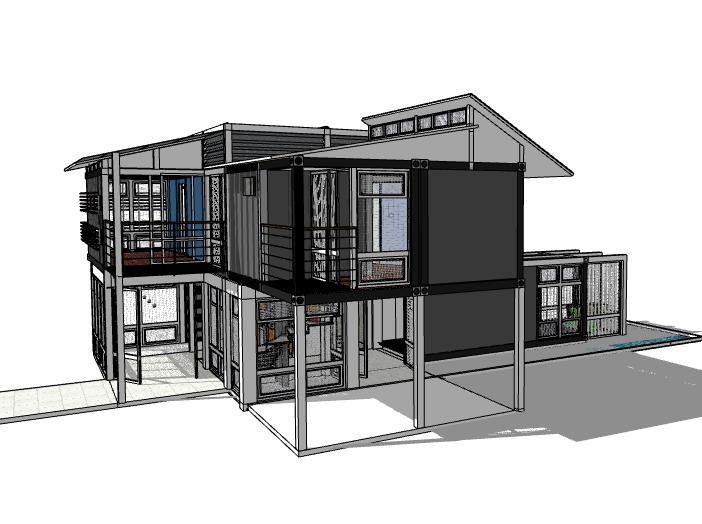 二层集装箱住宅建筑模型设计
