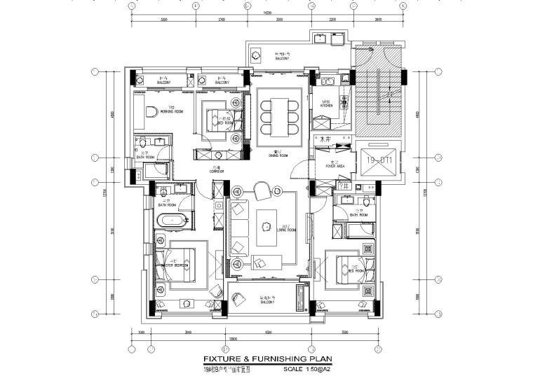 矩阵纵横深圳前海时代130平样板房施工图