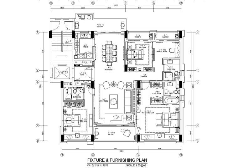 欧式装修140平米资料下载-深圳前海时代155平米新中式样板房施工图