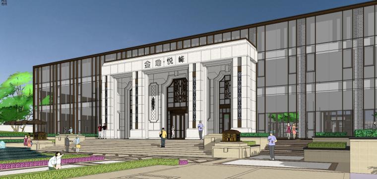 新中式风格售楼处建筑模型设计